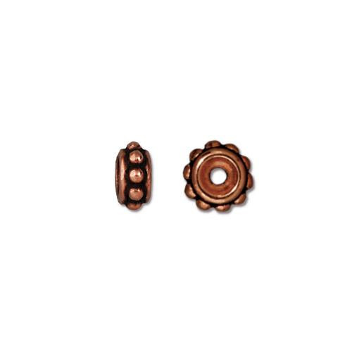 Beaded 6mm Bead, Antiqued Copper Plate, 50 per Pack