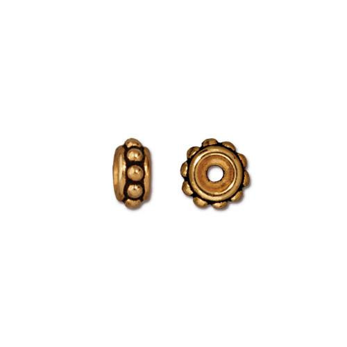 Beaded 6mm Bead, Antiqued Gold Plate, 50 per Pack