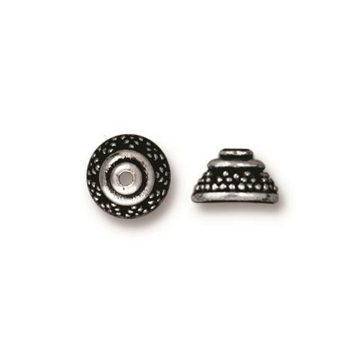 Bali 8mm Bead Cap, Antiqued Silver Plate, 20 per Pack