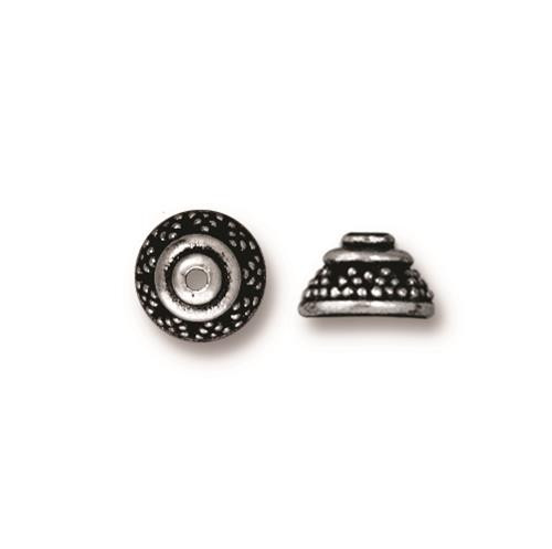 Bali 8mm Bead Cap, Antiqued Silver Plate, 20 per Pack