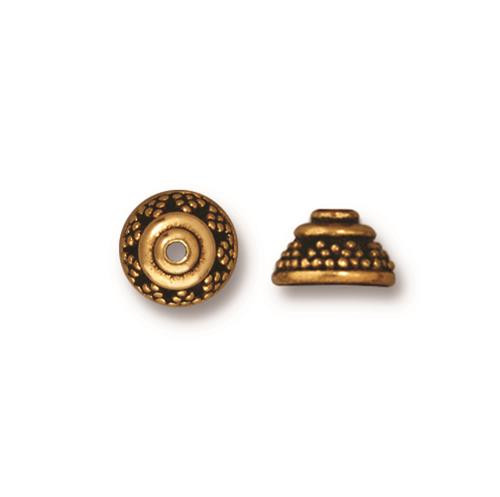 Bali 8mm Bead Cap, Antiqued Gold Plate, 20 per Pack