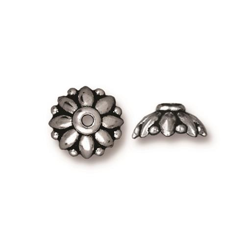 Dharma 10mm Bead Cap, Antiqued Silver Plate, 20 per Pack