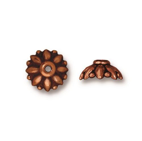 Dharma 10mm Bead Cap, Antiqued Copper Plate, 20 per Pack