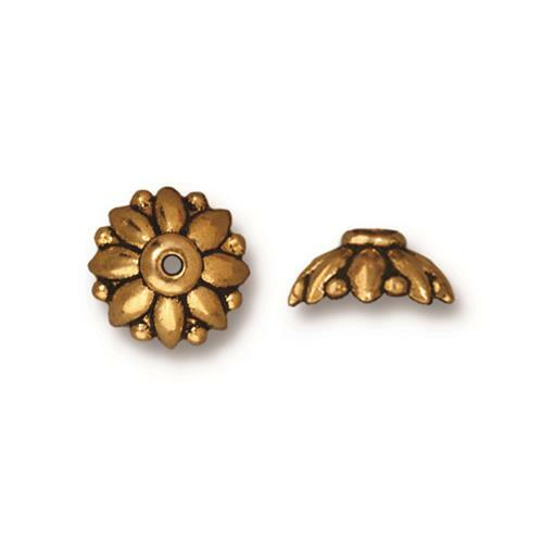 Dharma 10mm Bead Cap, Antiqued Gold Plate, 20 per Pack