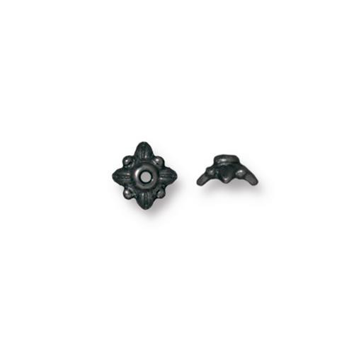 Leaf 5mm Bead Cap, Black Plate, 100 per Pack