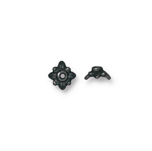 Leaf 5mm Bead Cap, Black Plate, 100 per Pack