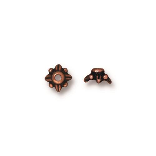 Leaf 5mm Bead Cap, Antiqued Copper Plate, 100 per Pack