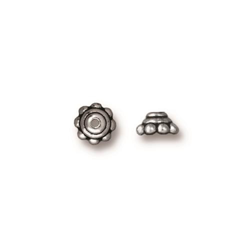 Beaded 5mm Bead Cap, Antiqued Silver Plate, 100 per Pack