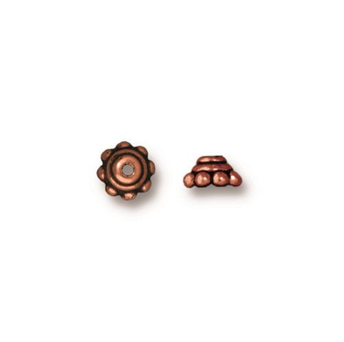 Beaded 5mm Bead Cap, Antiqued Copper Plate, 100 per Pack