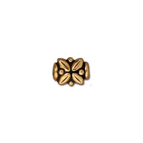Leaf Bead, Antiqued Gold Plate, 20 per Pack