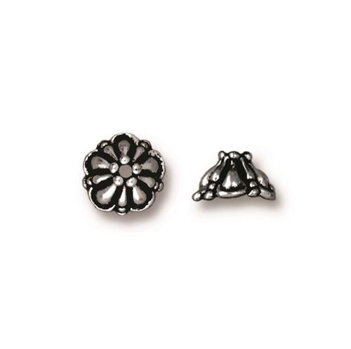 Tiffany 8mm Bead Cap, Antiqued Silver Plate, 20 per Pack