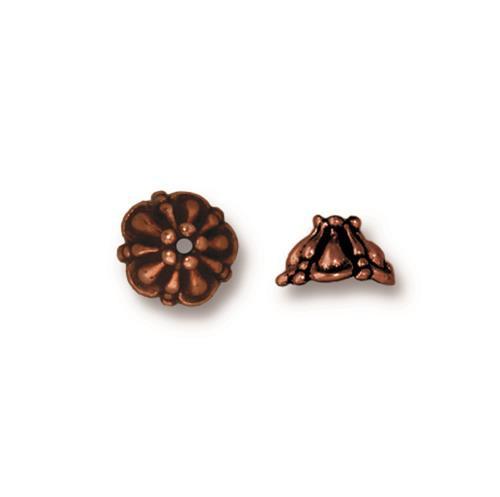 Tiffany 8mm Bead Cap, Antiqued Copper Plate, 20 per Pack