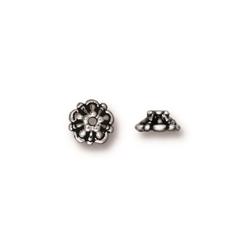 Tiffany 5mm Bead Cap, Antiqued Silver Plate, 100 per Pack