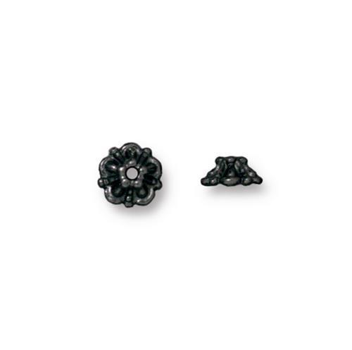 Tiffany 5mm Bead Cap, Black Plate, 100 per Pack