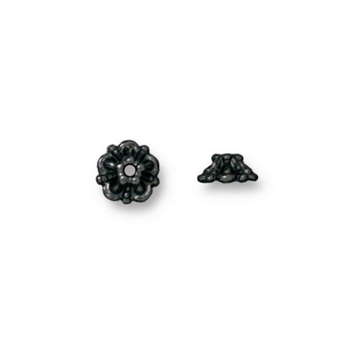 Tiffany 5mm Bead Cap, Black Plate, 100 per Pack