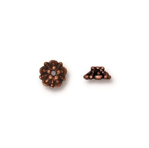 Tiffany 5mm Bead Cap, Antiqued Copper Plate, 100 per Pack