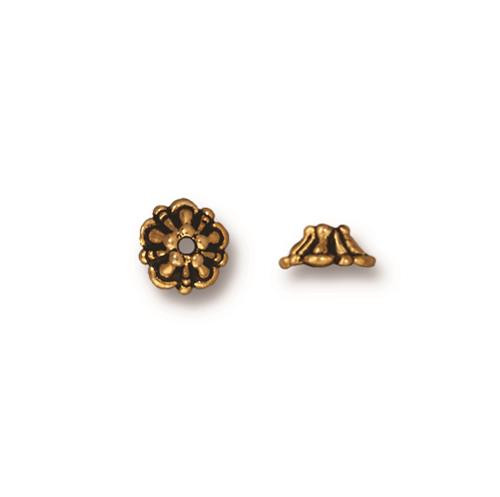 Tiffany 5mm Bead Cap, Antiqued Gold Plate, 100 per Pack