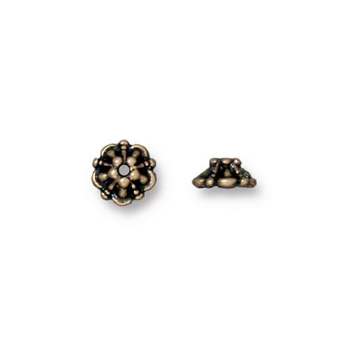 Tiffany 5mm Bead Cap, Oxidized Brass Plate, 100 per Pack