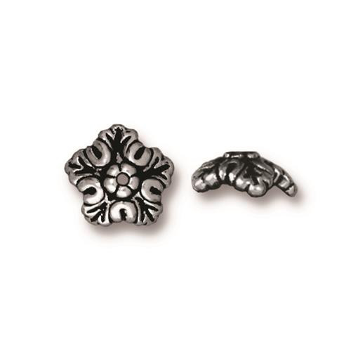 Oak Leaf 10mm Bead Cap, Antiqued Silver Plate, 20 per Pack