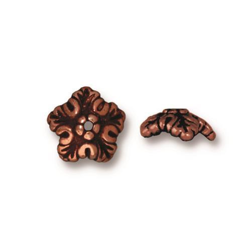 Oak Leaf 10mm Bead Cap, Antiqued Copper Plate, 20 per Pack