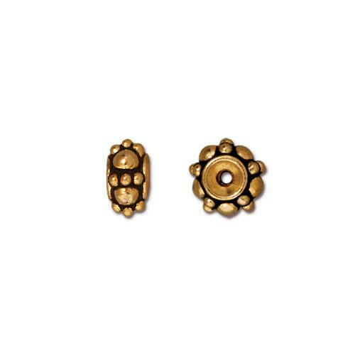 Turkish Bead, Antiqued Gold Plate, 20 per Pack