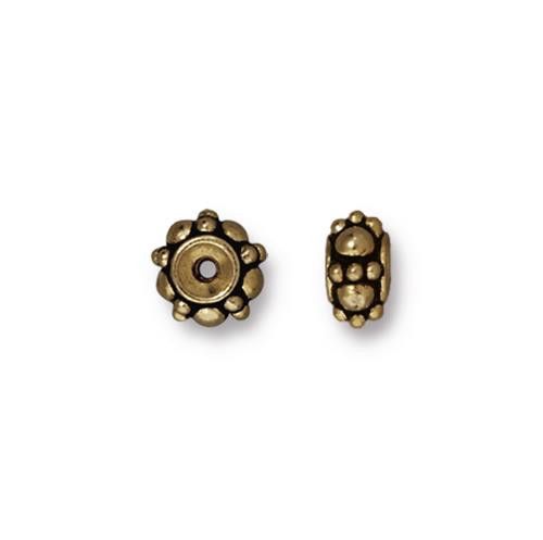 Turkish Bead, Oxidized Brass Plate, 20 per Pack
