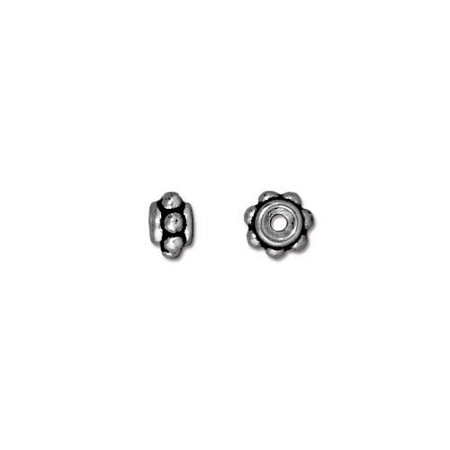 Beaded 5mm Bead, Antiqued Silver Plate, 100 per Pack
