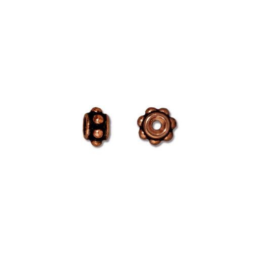 Beaded 5mm Bead, Antiqued Copper Plate, 100 per Pack