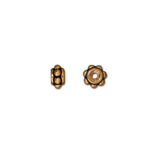 Beaded 5mm Bead, Antiqued Gold Plate, 100 per Pack