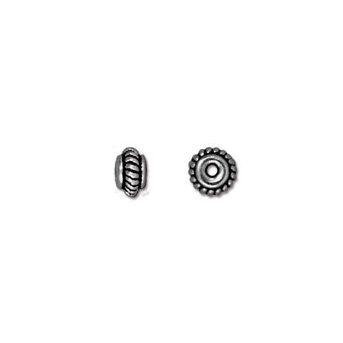 Coiled 5mm Bead, Antiqued Silver Plate, 100 per Pack