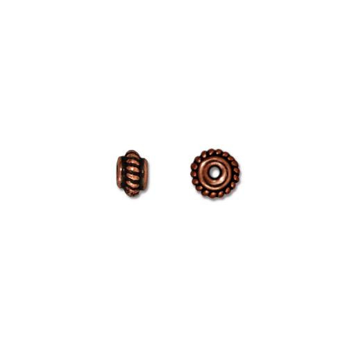 Coiled 5mm Bead, Antiqued Copper Plate, 100 per Pack