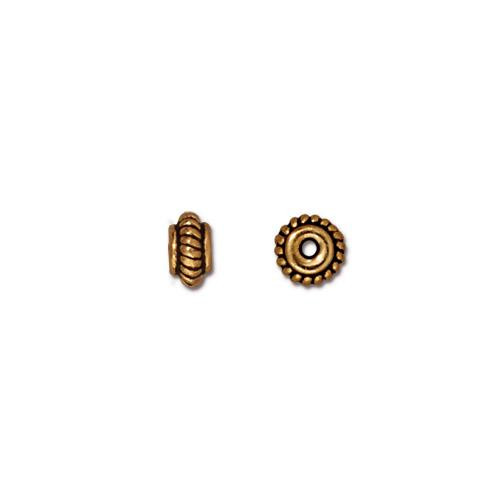 Coiled 5mm Bead, Antiqued Gold Plate, 100 per Pack
