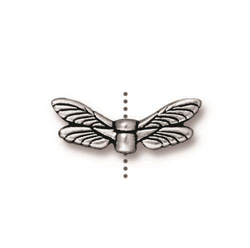 Dragonfly Wings Bead, Antiqued Silver Plate, 20 per Pack