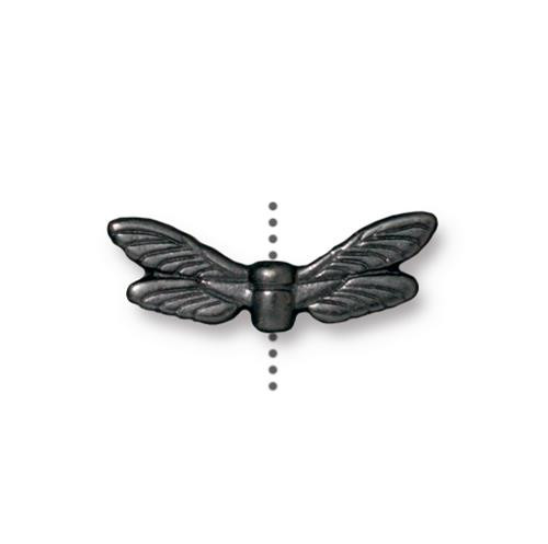 Clearance: Dragonfly Wings Bead, Black Plate, 20 per Pack