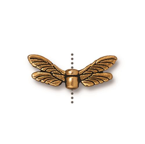 Dragonfly Wings Bead, Antiqued Gold Plate, 20 per Pack