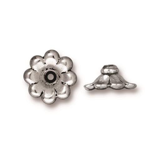 Scalloped 11mm Bead Cap, Antiqued Silver Plate, 20 per Pack