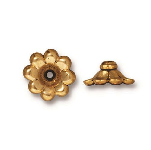Scalloped 11mm Bead Cap, Antiqued Gold Plate, 20 per Pack