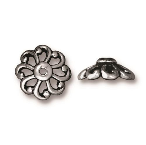 Open Scalloped 12mm Bead Cap, Antiqued Silver Plate, 20 per Pack