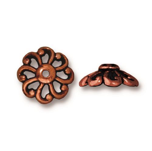 Open Scalloped 12mm Bead Cap, Antiqued Copper Plate, 20 per Pack