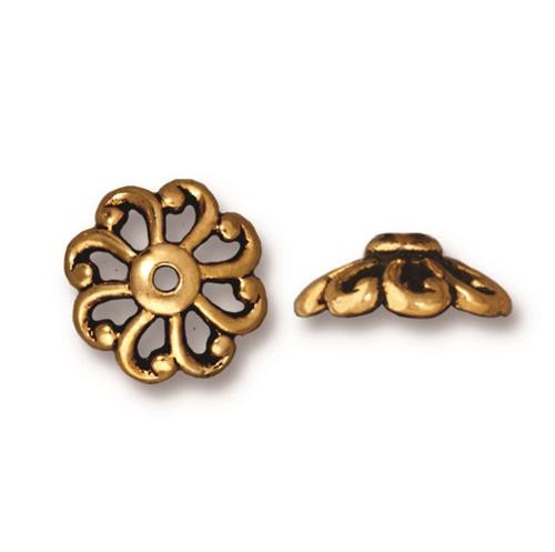 Open Scalloped 12mm Bead Cap, Antiqued Gold Plate, 20 per Pack
