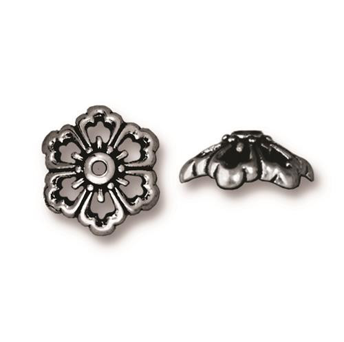 Open Poppy 12mm Bead Cap, Antiqued Silver Plate, 20 per Pack