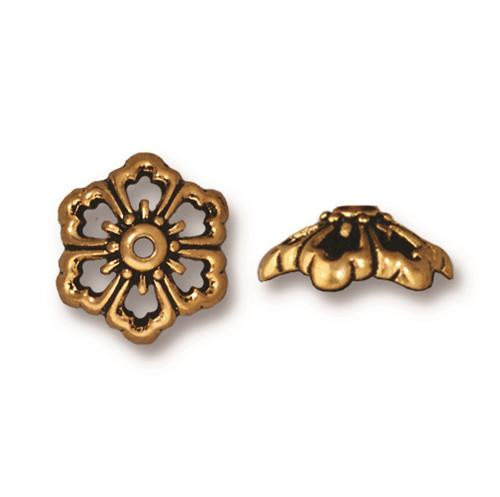 Open Poppy 12mm Bead Cap, Antiqued Gold Plate, 20 per Pack