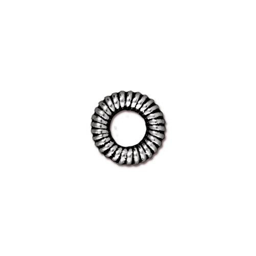 Large Coiled Ring Bead, Antiqued Silver Plate, 20 per Pack
