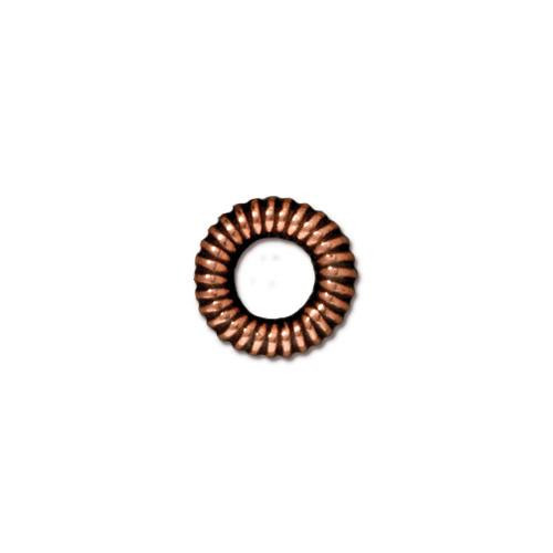 Large Coiled Ring Bead, Antiqued Copper Plate, 20 per Pack