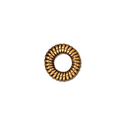 Large Coiled Ring Bead, Antiqued Gold Plate, 20 per Pack