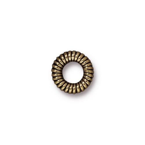 Large Coiled Ring Bead, Oxidized Brass Plate, 20 per Pack