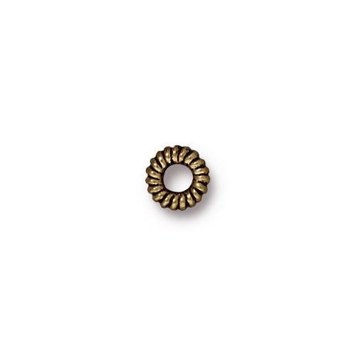 Small Coiled Ring Bead, Oxidized Brass Plate, 100 per Pack