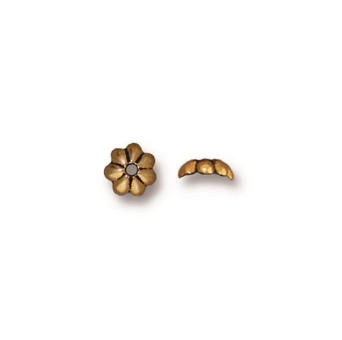 Petal 5mm Bead Cap, Antiqued Gold Plate, 100 per Pack