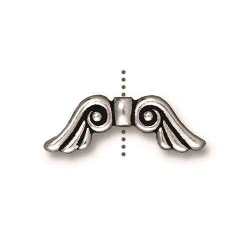 Angel Wings Bead, Antiqued Silver Plate, 20 per Pack