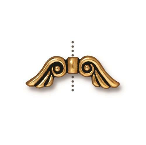Angel Wings Bead, Antiqued Gold Plate, 20 per Pack